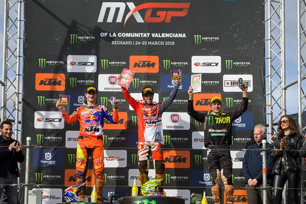 MXGP podium at Redsand
