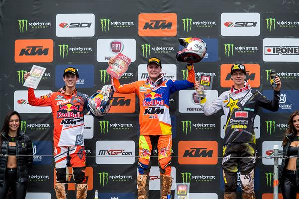 MX2 podium at Redsand